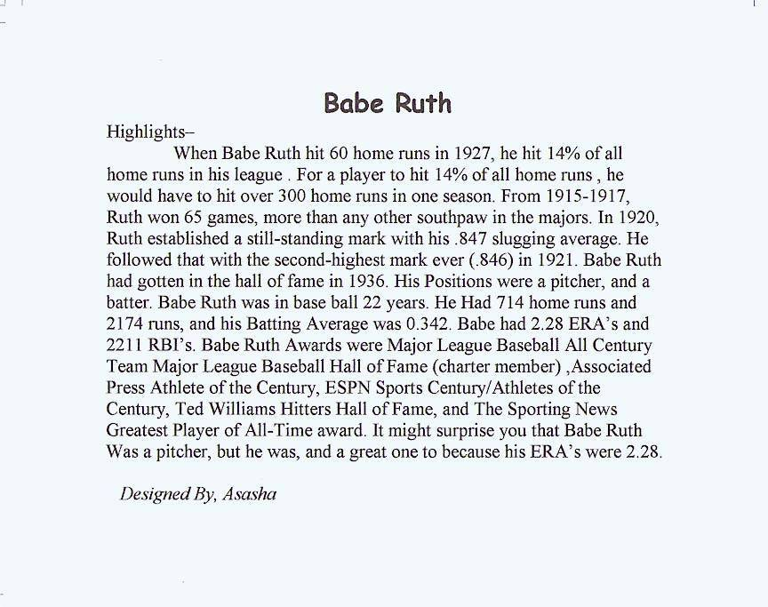 babe ruth biography essay Search essay examples  babe ruths biography essay examples 1 total result a biography of babe ruth a baseball player 1,033 words 2 pages company about us.